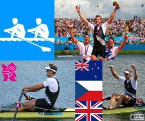Rudern einer, Mahe Drysdale (Neuseeland), Ondřej Synek (Tschechische Republik) und Alan Campbell (Vereinigtes Königreich) - London 2012 - Podium puzzle
