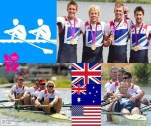 Rudern Männer Vierer, Vereinigtes Königreich, Australien und USA - London 2012 - Podium puzzle