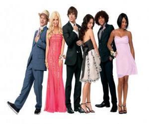 Ryan Evans (Lucas Grabeel), Sharpay Evans (Ashley Tisdale), Troy Bolton (Zac Efron), Gabriella Montez (Vanessa Hudgens), Chad (Corbin Bleu), Taylor (Monique Coleman) sehr elegant puzzle