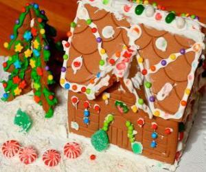 Süß und schön Weihnachtszierde, ein Lebkuchenhaus puzzle