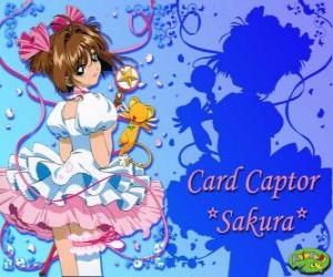 Sakura, die Card Captor mit einem ihrer Kleider neben Kero puzzle