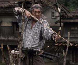 Samurai einen zu seinem Bogen puzzle