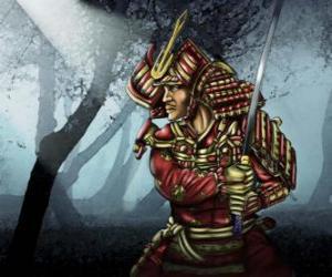 Samurai mit traditioneller Kleidung puzzle