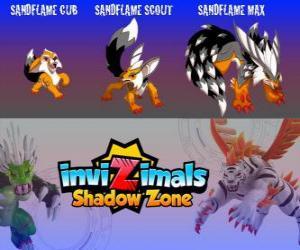 Sandflame Cub, Sandflame Scout, Sandflame Max. Invizimals Schattenzone. Diese Invizimals schon seit Jahrhunderten die Gräber der Pharaonen geschützt puzzle