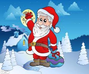 Santa Claus in einer verschneiten Landschaft puzzle