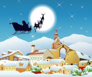 Santa Claus in seinem fliegenden Schlitten von Rentieren gezogenen Magie puzzle