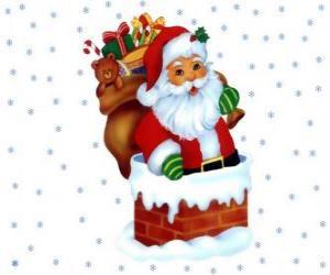Santa Claus kommt durch den schornstein beladen mit vielen geschenken puzzle