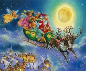 Santa Claus Schlitten über Häuser fliegen während Heiligabend puzzle