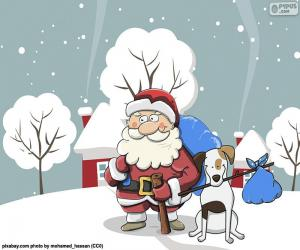Santa in Begleitung eines Hundes puzzle