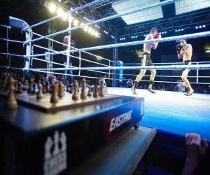Schach-Boxen ist ein Sport, der Hybrid-Boxen mit Schach in wechselnden Runden verbindet. puzzle