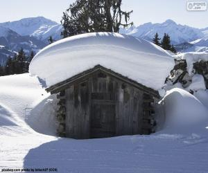 Schneebedeckte Kabine puzzle