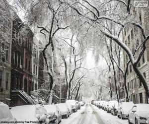 Schneebedeckte Straße puzzle