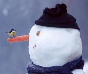 Schneemann mit einem Vogel auf die Nase puzzle