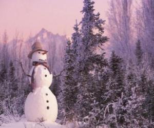 Schneemann mit einer Schnee-Szene puzzle