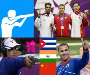 Schnellfeuerpistole 25 Meter Podium der Herren, Leuris Pupo (Kuba), Vijay Kumar (Indien) und Ding Feng (China) - London 2012- puzzle