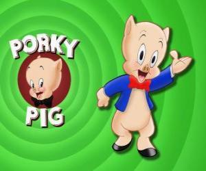 Schweinchen Dick, eine animierte Zeichentrickfigur in Loonely Tunes aus der Warner Bros puzzle