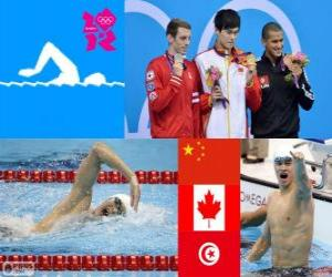 Schwimmen 1500 m Freistil, Sun Yang (China), Ryan Cochrane (Kanada) und Oussama Mellouli (Tunesien) - London 2012 - Podium puzzle