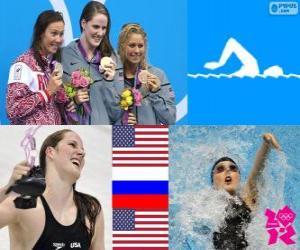 Schwimmen Frauen 200 Meter Rücken Podium, Missy Franklin (Vereinigte Staaten), Anastasia Zueva (Russland) und Elizabeth Beisel (USA) - London 2012- puzzle
