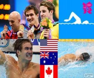 Schwimmen Männer 100 m Freistil Podium, Nathan Adrian (USA), James Magnussen (Australien) und Brent Hayden (Kanada) - London 2012- puzzle