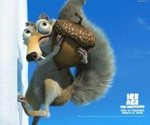 Scrat, das eichhörnchen saber zahn besessen mit eicheln puzzle