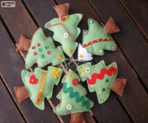 Sechs kleine Bäume von Weihnachten puzzle