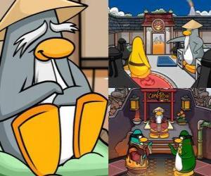 Sensei ist eine sehr kluge Pinguin lebt im Dojo und lehrt sie, Ninja Pinguine puzzle