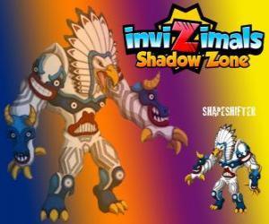 Shapeshifter. Invizimals Schattenzone. Riesige Totem mit ungeheurer Macht ist der Gott der Wälder der Native Americans puzzle