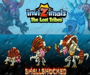 Shellshocked, neueste Entwicklung. Invizimals Die verlorenen Stämme. Eine exzentrische magische Kreatur lebt allein in den Höhlen puzzle
