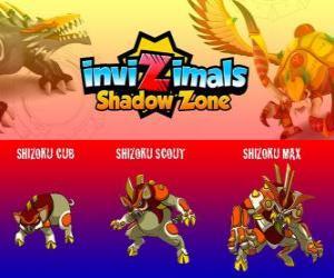 Shizoku Cub, Shizoku Scout, Shizoku Max. Invizimals Schattenzone. Ein Samurai Schwein, das von der feudalen Japan, ein Krieger in der Rüstung kommt puzzle