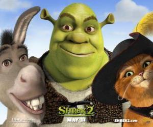 Shrek, der Riese mit seinen Freunden Esel und der gestiefelte Kater puzzle