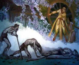 Siddhartha Gautama und seine erste vision des alters puzzle