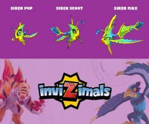 Siren in drei phasen Siren Pup, Siren Scott und Siren Max, Invizimals puzzle