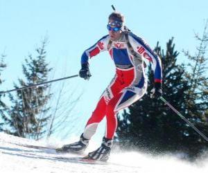 Skifahrer im vollen Aufwand in der Praxis der Langlauf oder Skilanglauf puzzle