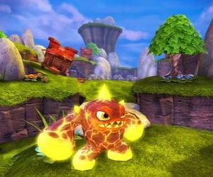 Skylander Eruptor, eine Kreatur, die Feuerbälle und Flammen wirft. Feuer Skylanders puzzle