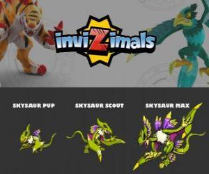 Skysaur in drei phasen Skysaur Pup, Skysaur Scott und Skysaur Max, Invizimals puzzle