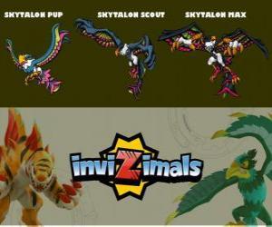 Skytalon in drei phasen Skytalon Pup, Skytalon Scott und Skytalon Max, Invizimals puzzle