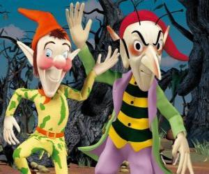 Sly und Gobbo, der schelmische Kobolde in Noddy Abenteuer puzzle