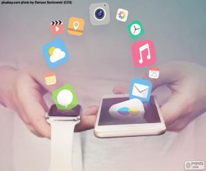 Smartwatch und smartphone puzzle
