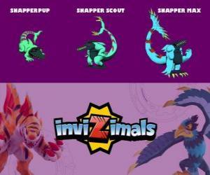 Snapper in drei phasen Snapper Pup, Snapper Scott und Snapper Max, Invizimals puzzle