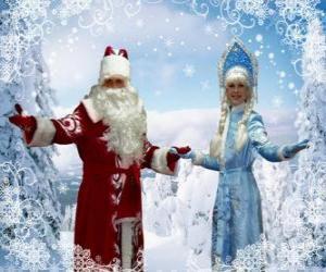 Snegurotschka, das Schneemädchen oder Schneeflöckchen und Det Moros oder Väterchen Frost, russisch traditionellen Weihnachtsmarkt Zeichen puzzle