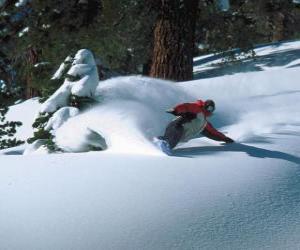 Snowboarder im Tiefschnee absteigend puzzle