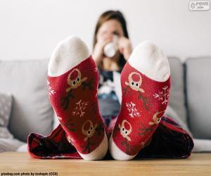 Socken mit Weihnachten Rentier puzzle