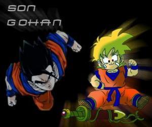Son Gohan, Goku's ältester Sohn, Krieger, halb Mensch und halb Saiyajin. puzzle