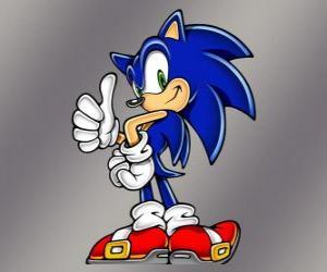 Sonic der Igel, die Hauptfigur des Sonic von Sega Videospiele puzzle