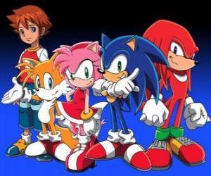 Sonic und andere Charaktere aus dem Sonic Videospiele puzzle