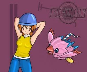 Sora spielt mit ihrer digimon Biyomon. Sora Takenouchi ist der verantwortungsvolle und reife der Gruppe puzzle