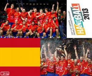 Spanien gold-Medaille beim World Cup im Handball 2013 puzzle
