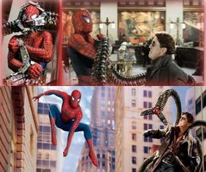 Spiderman bekämpfung der bösewicht Doctor Octopus, einem seiner größten feinde puzzle