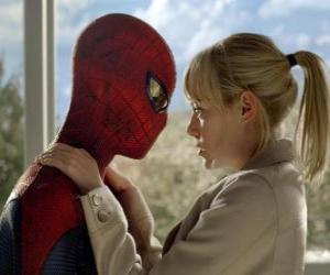 Spiderman zusammen mit Gwen Stacy puzzle