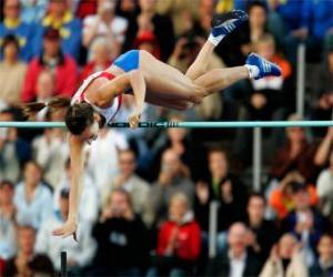 Sportler tut ein stabhochsprung puzzle